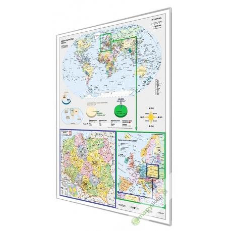 Świat, Europa, Polska polityczna 122x160cm. Mapa w ramie aluminiowej.