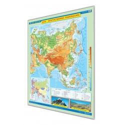 Azja ukształtowanie powierzchni 120x160cm. Mapa w ramie aluminiowej.