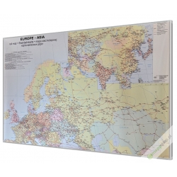Europa i Azja kolejowa 100x68cm. Mapa w ramie aluminiowej.