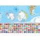 Świat polityczny z flagami 148x98cm. Mapa ścienna.