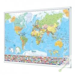 Świat Polityczny 145x100cm. Mapa w ramie aluminiowej.