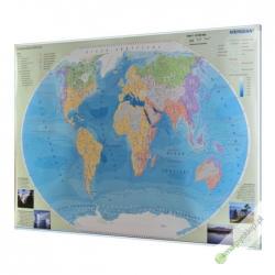 Hydrografia świata 160x120cm. Mapa w ramie aluminiowej.
