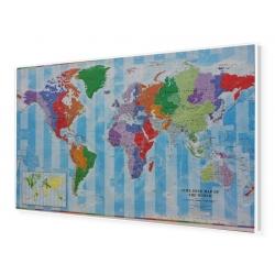 Świat polityczny i strefy czasowe 140x80cm. Mapa w ramie aluminiowej.