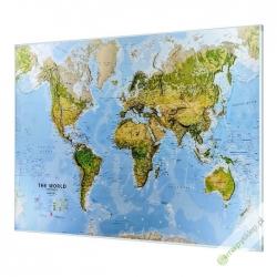 Świat Fizyczny z elementami środowiska 200x124cm. Mapa w ramie aluminiowej.