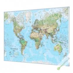 Świat Fizyczny 144x84cm. Mapa w ramie aluminiowej.