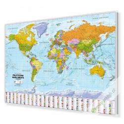 Świat Polityczny 138x98cm. Mapa w ramie aluminiowej.