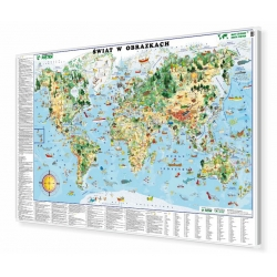 Świat w obrazkach dla dzieci 148x98cm. Mapa w ramie aluminiowej.