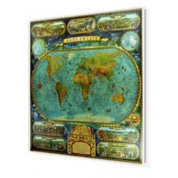 Świat w starym stylu 97x115cm. Mapa w ramie aluminiowej.
