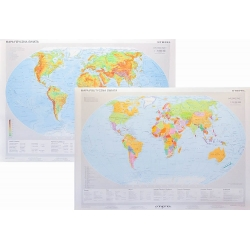 Świat fizyczny/polityczny 160x120cm. Mapa ścienna dwustronna.