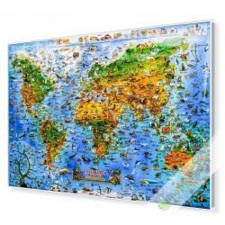 Świat Zwierząt dla dzieci 137x97cm. Mapa w ramie aluminiowej.