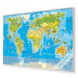 Zwierzęta Świata - Mapa Młodego Odkrywcy 140x100cm. Mapa w ramie aluminiowej.