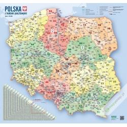 Polska kodowo-drogowa 104x94cm. Mapa ścienna.