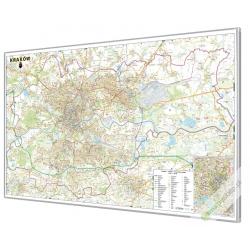 Kraków 140x100 cm. Mapa w ramie aluminiowej.