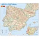 Hiszpania i Portugalia drogowa z kodami pocztowymi 138x112cm. Mapa ścienna.