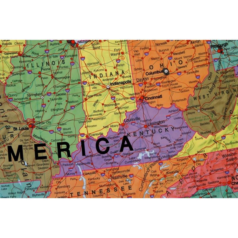 Mapa W Ramie Stany Zjednoczone Usa Polit 1 4 2 Ml Wym 126x102cm Mi