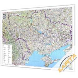 Ukraina, Mołdawia administracyjno-drogowa 146x94cm. Mapa w ramie aluminiowej.