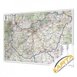 Węgry drogowo-administracyjna 144x95 cm. Mapa w ramie aluminiowej.