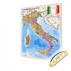 Włochy administracyjno-kodowa 100x140 cm. Mapa w ramie aluminiowej.