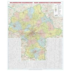 Mazowieckie/Mazowsze 140x174 cm administracyjno-drogowa. Mapa ścienna.