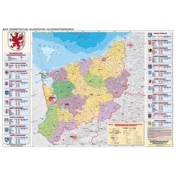 Zachodniopomorskie administracyjna 160x120 cm. Mapa ścienna.