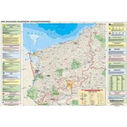 Zachodniopomorskie ekologiczno/konturowa 160x120 cm. Mapa ścienna dwustronna.