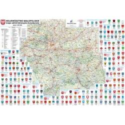 Małopolskie administracyjno-turystyczna. Mapa ścienna.