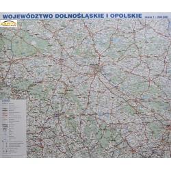 Dolnośląskie i Opolskie drogowa 140x118 cm. Mapa scienna.