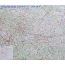 Śląskie i Małopolskie drogowa 140x116cm. Mapa ścienna.