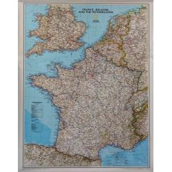 M-DR Francja ,Belgia,Holandia,Anglia Wal Mapa scienna 1:1,9 mln NG 64x77cm