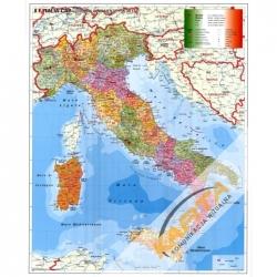 Włochy administracyjna z kodami pocztowymi 98x136cm. Mapa ścienna.