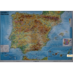 Hiszpania i Portugalia fizyczna 140x100cm. Mapa ścienna.