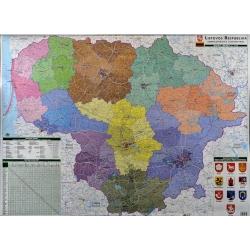 Litwa administracyjna 100x72cm. Mapa ścienna.