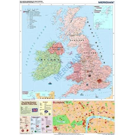 Mapa Scienna Wielka Brytania I Irlandia Polit 1 950 Tys 122x165cm Me