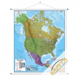 Ameryka Północna 106x120cm.Mapa ścienna