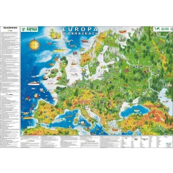 Europa fizyczna w obrazkach dla dzieci 148x98cm. Mapa ścienna.