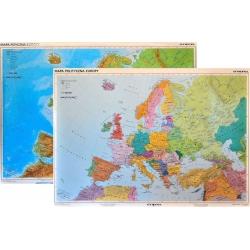 Europa fizyczno-polityczna 165x114cm. Mapa ścienna dwustronna.