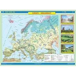 Europa krajobrazowa/ukształtowanie powierzchnii 160x120cm. Mapa ścienna dwustronna.
