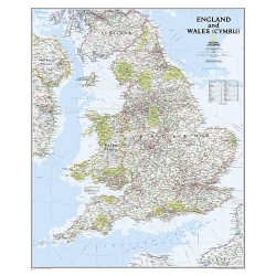 Anglia i Walia administracyjno-drogowa 82x92cm. Mapa ścienna.