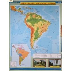 Ameryka Południowa fizyczna/krajobrazy 120x160cm. Mapa ścienna dwustronna.