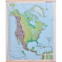 Ameryka Północna 1:7,4mln Meridian Mapa ścienna 122x154cm fizyczna