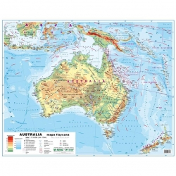 Australia Polityczna/fizyczna 148x98cm. Mapa ścienna dwustronna.