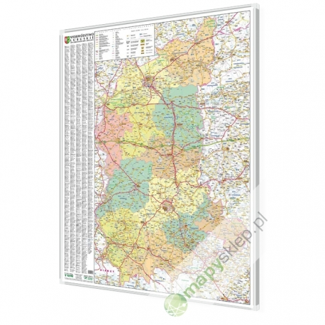 Lubuskie 100x120 cm. Mapa w ramie aluminiowej.