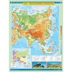 Azja ukształtowanie powierzchni/krajobrazy 120x160cm. Mapa ścienna dwustronna.