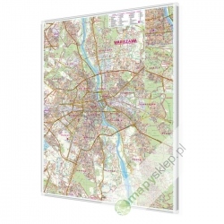 Warszawa plan miasta 88x120 cm. Mapa w ramie aluminiowej.