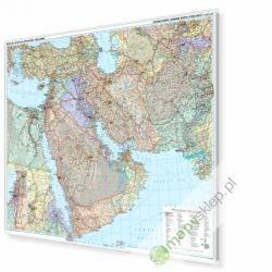 Bliski Wschód polityczno-drogowa 132x90 cm. Mapa w ramie aluminiowej.