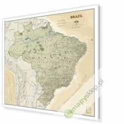 Brazylia exclusive 107x98 cm. Mapa w ramie aluminiowej.