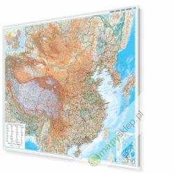 Chiny fizyczno-drogowa 130x90 cm. Mapa w ramie aluminiowej.