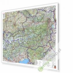 Austria Drogowa 120x90 cm. Mapa w ramie aluminiowej.