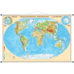 Świat Fizyczny, ukształtowanie powierzchni 205x133cm. Mapa ścienna.