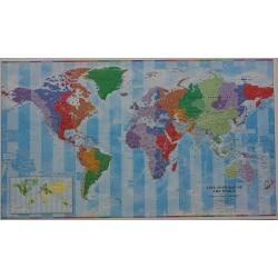 Świat polityczny i strefy czasowe 140x80cm. Mapa ścienna.